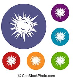 Terrible explosion icons set in flat circle red, blue and...