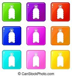 Big bottle set 9 - Big bottle icons of 9 color set isolated...