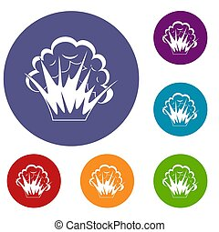 Flame and smoke icons set in flat circle red, blue and green...