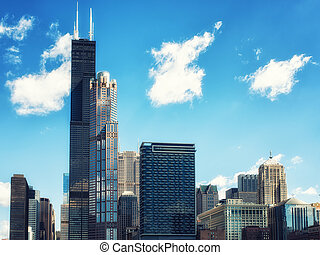 Chicago City skyline with Willis Tower - Skyline view of...