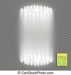 Round white glow rays night scene with sparks on transparent background. Empty light effect podium. Disco club dance floor. Show party. Beam stage.