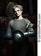 Medieval Warrior - Medieval warrior in the chain armour with...