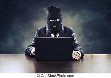黑客, 事務, 政府, 秘密, 代理, 偷, 或者, 間諜活動