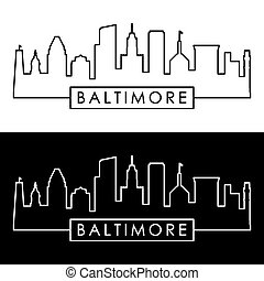 Baltimore skyline. Linear style. Editable vector file.