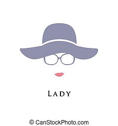 Lady in hat and glasses. Beautiful portrait. Vector...