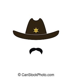 Sheriff's head. Cowboy icon. Vector illustration.