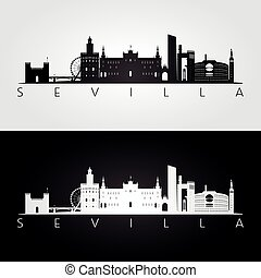 Sevilla skyline and landmarks silhouette, black and white...