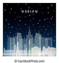 Winter night in Warsaw. Night city in flat style for banner,...
