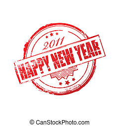 New year 2011 stamp - Red Happy New Year 2011 stamp over...