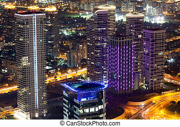 Tel Aviv Night View - Luxury buildings in Tel Aviv / Luxury...