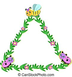Triangle Nature Frame with Bees and