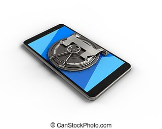 3d cyan - 3d illustration of mobile phone over white...