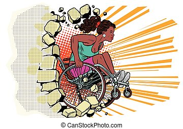 Black woman athlete in a wheelchair punches the wall....