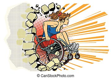 Caucasian woman athlete in a wheelchair punches the wall....