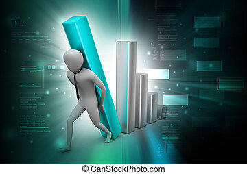 Business man holding business graph in color back ground