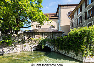 Architecture of Annecy, France, Europe - View of the canal...