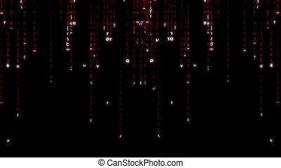 Falling red matrix code 4k