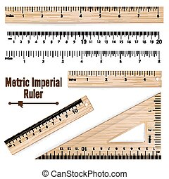 Wooden Metric Imperial Rulers Vector. Centimeter And Inch....