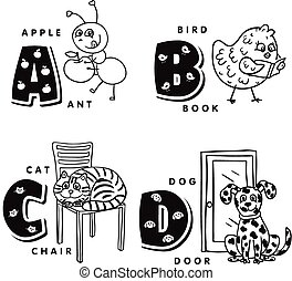 Alphabet letter A B C D depicting an ant, bird, cat and dog....
