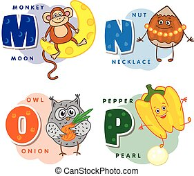 Alphabet Children Colored letter M N O P depicting an...