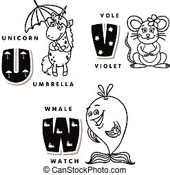 Alphabet letter U V W depicting an unicorn, vote and whale....