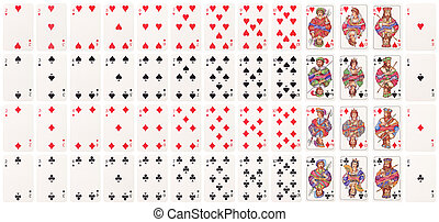Full deck of cards lined up on rows isolated on white