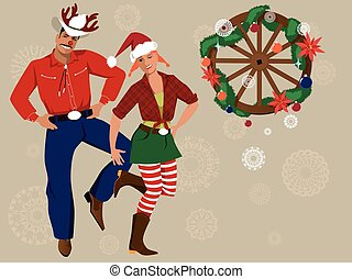 Country-western Christmas background - Cowboy and cowgirl in...