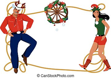Country Western Christmas frame - Cowboy and cowgirl in...