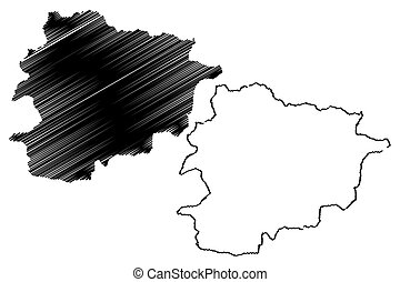 Andorra map vector illustration, scribble sketch Andorra