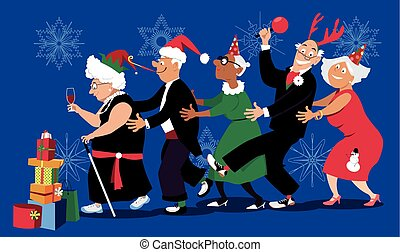 Christmas in senior home - Group of active seniors dancing...