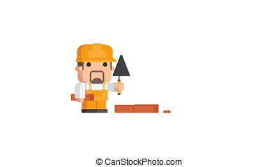 Builder Stands Near Wall and Holds Trowel Brick. Motion...