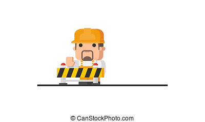 Builder Stands Near Guardrail and Prohibits Entry. Motion...