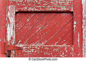 Red Painted Wood Paneling - An old worn barn door or wooden...