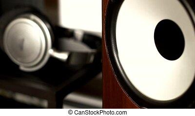 Closeup of working loudspeaker