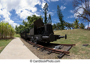 Old Steam train - Fisheye shot of an old steam train at the...