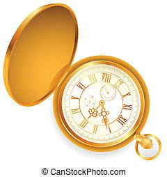 vintage pocket clock - illustration of old opened vintage...