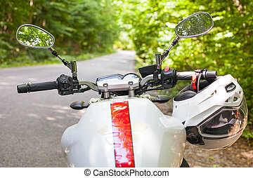 Motorcycle parked on the road - Picture of a motorcycle...