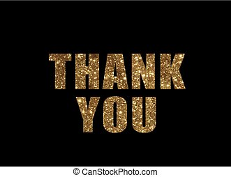 Golden glitter isolated word THANK YOU