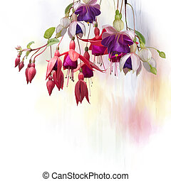Fuchsia Flowers watercolor - Digital Painting of Purple and...