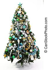 Christmas Tree Blue, Green and Gold - Blue, green and gold...