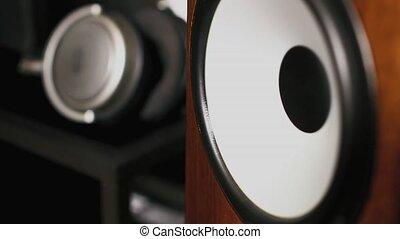 Closeup of loudspeaker in action