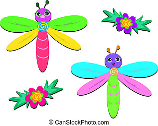Two Dragonflies and Two Flowers - Here are two cute...