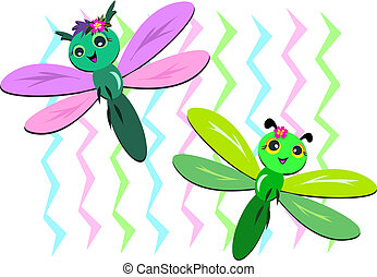 Two Dragonflies with Zigzag Backgro - Here are two cute...