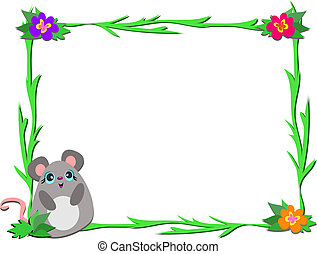 Frame with Mouse and Plants