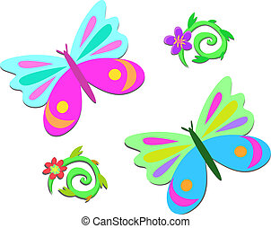 Mix of Butterflies and Spiral Plant