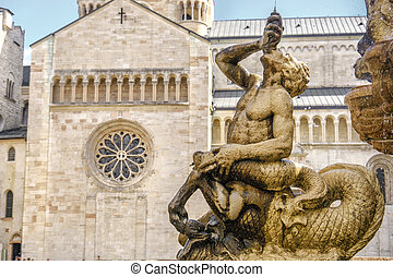 Trento - Fontana del Nettuno and Cattedrale di San Vigilio...