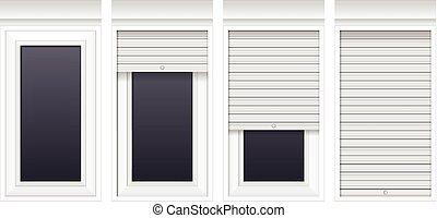 Fenster clipart schwarz weiß  Vektor fenster mit rollen fensterläden Clip Art Vektor und ...
