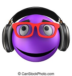 3d violet emoticon smile - 3d illustration of violet...