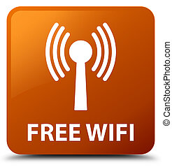 Free wifi (wlan network) brown square button - Free wifi...