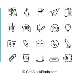 Office & Business Icon Set // Blue Line Series - Line...